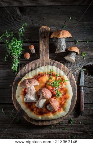 Delicious Rustic Pizza With Noble Mushrooms And Thyme