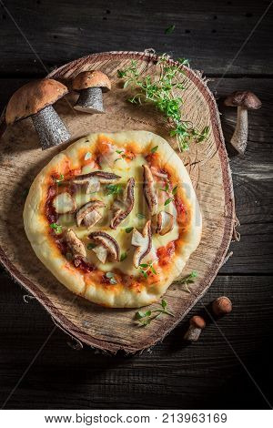 Homemade Rustic Pizza With Noble Mushrooms And Thyme