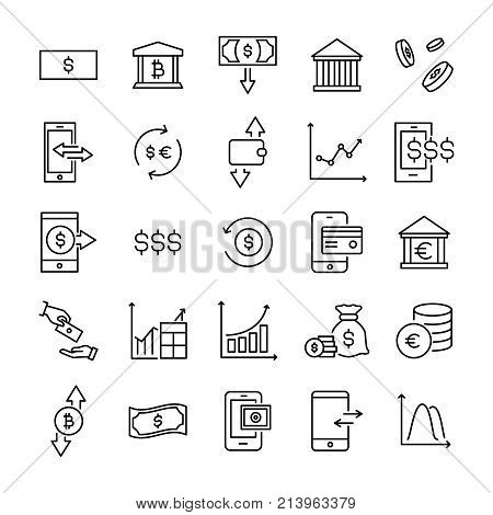 Modern outline style investments icons collection. Premium quality symbols and sign web logo collection. Pack modern infographic logo and pictogram. Simple money pictograms on a white background.