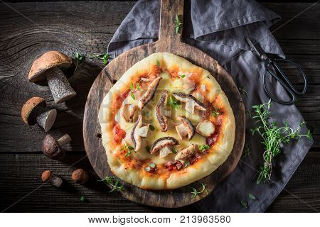 Ready To Eat Rustic Pizza With Noble Mushrooms And Thyme