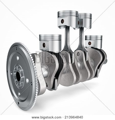 3D Rendering V4 engine pistons and cog isolated on white background. Pistons and crankshaft. Four cylinder engine. V4 Car engine. Concept of modern car engine