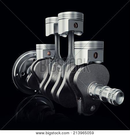 V4 engine pistons and cog on black background. Pistons and crankshaft. Four cylinder engine. V4 Car engine. Concept of modern car engine. 3D rendering