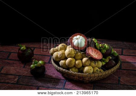 Mangosteen With Wollongongfruits In Bamboo Basket