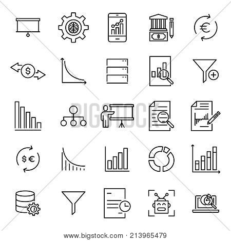 Premium set of analysis line icons. Simple pictograms pack. Stroke vector illustration on a white background. Modern outline style icons collection.