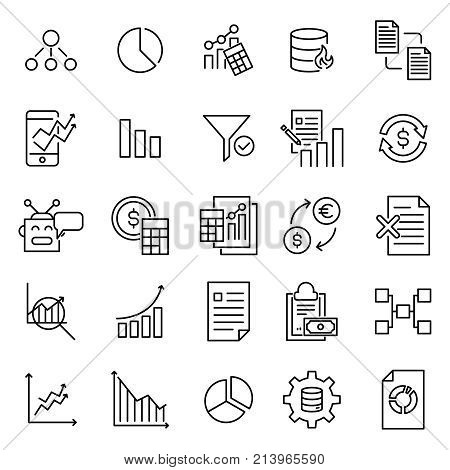 Set of premium analysis icons in line style. High quality outline symbol collection of data. Modern linear pictogram pack of statistics. Stroke vector illustration on a white background.