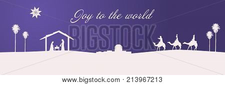 Christmas time. The three kings follow the star to Bethlehem in purple landscape. Text: Joy to the world