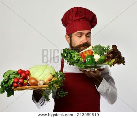 Healthy Nutrition And Cuisine Concept. Cook With Dreamy Face