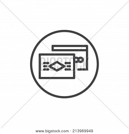 Debit and credit card line icon, outline vector sign, linear style pictogram isolated on white. Payment method symbol, logo illustration. Editable stroke