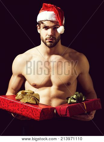 Santa Muscular Man With Present Boxes
