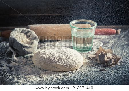 Preparation For Baking Delicious And Traditionally Dough For Pizza