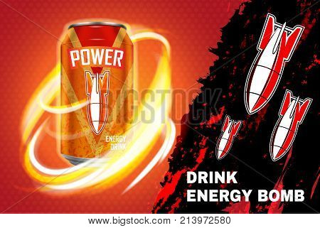 Bomb energy drink ad vector illustration. Energy drink in metal can on red and black background with flame and rockets.
