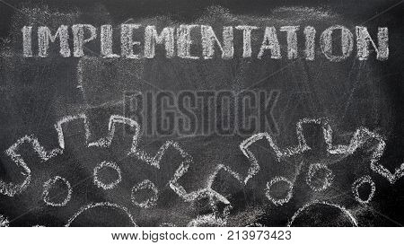 The Blackboard Writing With Chalk And The Concept Of Business, The Text `implementation`, And Two Ch