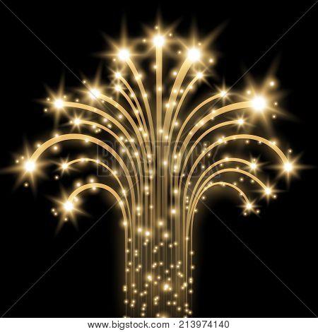 Glittering Flying Stars, Golden Color