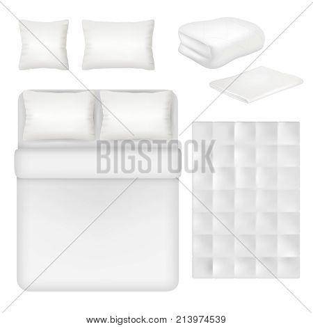 Vector white blank bedding set. Bed, pillow, linen and folded and unfolded blanket realistic templates.