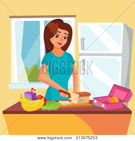 Lunch Box Vector. Woman Making Tasty Vegetarian Lunch. Healthy Food. Mother Making Breakfast For Her Children. Flat Cartoon Illustration