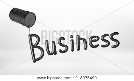 3d rendering of a black overturned barrel leaking oil to make a word Business on a white background. Oil and gas business. Fuel station. Commodities trade.