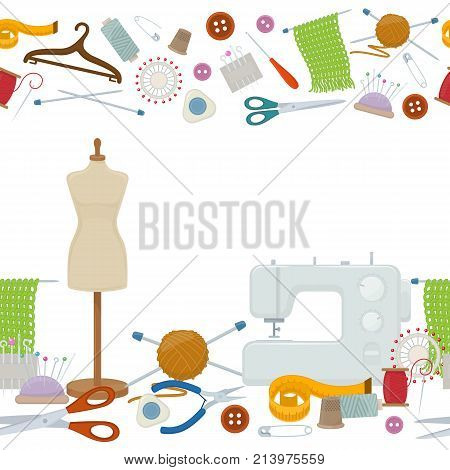Seamless horizontal borders of tools for needlework and sewing. Handmade equipment and needlework accessoriesy, cartoon illustration. Vector