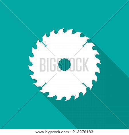 Circular saw blade icon with long shadow. Flat design style. Saw blade simple silhouette. Modern minimalist icon in stylish colors. Web site page and mobile app design vector element.