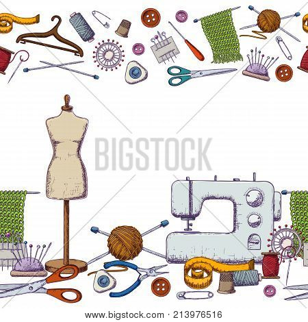 Seamless horizontal borders of tools for needlework and sewing. Handmade equipment and needlework accessoriesy, colorful sketch illustration. Vector