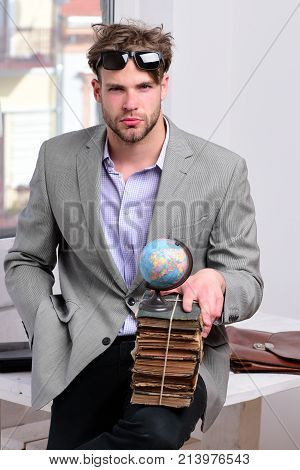 Academic Style And Teaching Concept. Cool Guy Wearing Suit