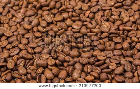 Coffee texture. Roasted coffee beans as background wallpaper. Beautiful arabica real cofee bean illustration for any concept. Gourmet coffee beans macro closeup studio photo.