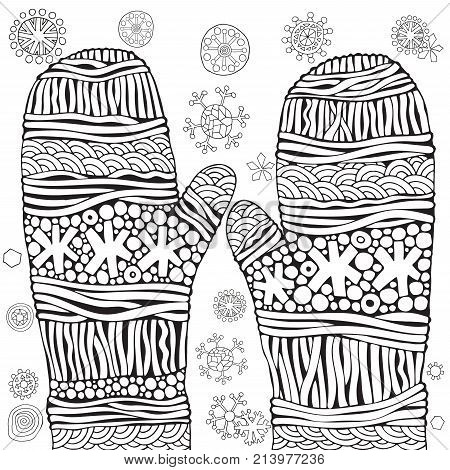 Knitted Mittens With Snowflakes. Christmas Vector. Pattern For Adult Coloring Book. Black And White.