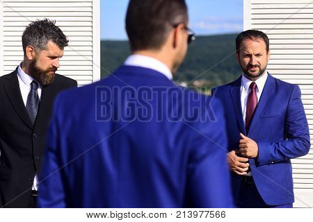 Leaders Have Business Meeting. Businessmen Wear Smart Suits