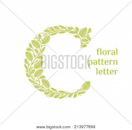 C letter eco logo isolated on white background. Organic bio logo from green grass leaves, plants for corporate identity of the company or brand on the letter C.