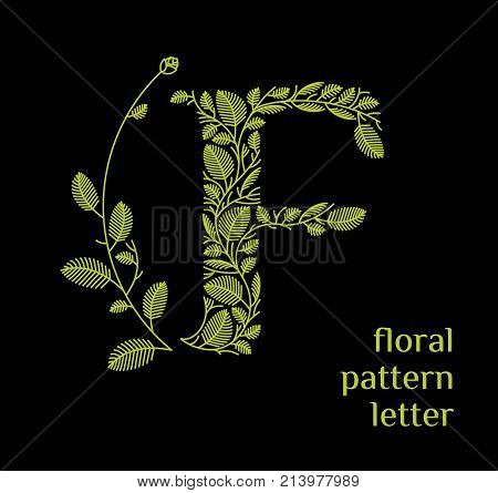 F letter eco logo isolated on black background. Organic bio logo from green grass leaves, plants for corporate identity of the company or brand on the letter F.