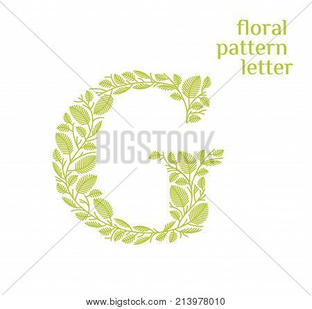G letter eco logo isolated on white background. Organic bio logo from green grass leaves, plants for corporate identity of the company or brand on the letter G.