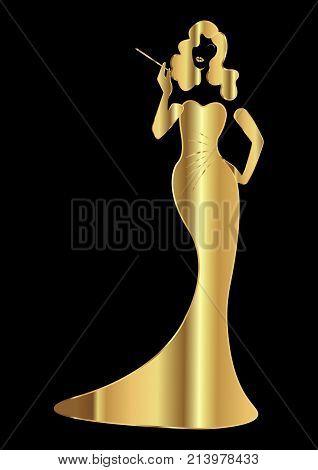 Gold luxury silhouette diva, shop logo fashion. Company logo design, Beautiful cover girl retro , isolated or black background