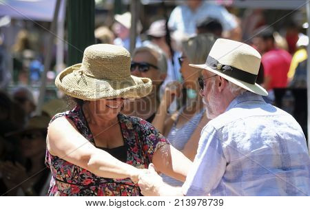 SANTA FE, NEW MEXICO, JULY 4. The Plaza on July 4, 2017, in Santa Fe ,New Mexico. A Couple Dances to the Band Manzanares on the Fourth of July in Santa Fe New Mexico.