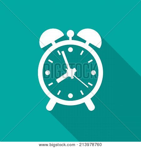 Alarm clock icon with long shadow. Flat design style. Clock simple silhouette. Modern minimalist icon in stylish colors. Web site page and mobile app design vector element.