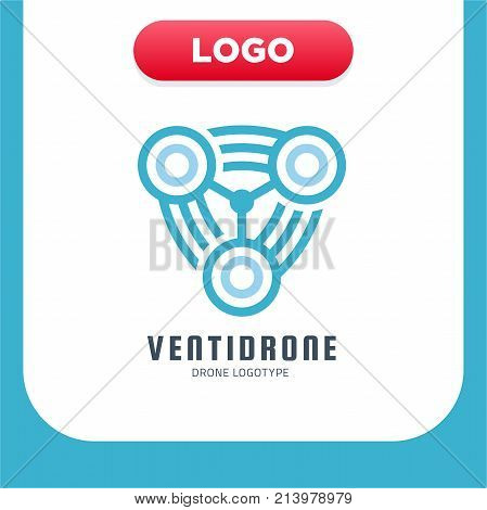 Three Propeller Drone Or Bladed Screw Rotation Logo. Vector Illustration Style Is A Flat Iconic Blue