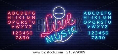 Live musical neon sign, logo, emblem, symbol poster with microphone. Vector illustration. Neon bright sign, Nightlife club advertising, karaoke and other institutions with music. Editing text neon sign.