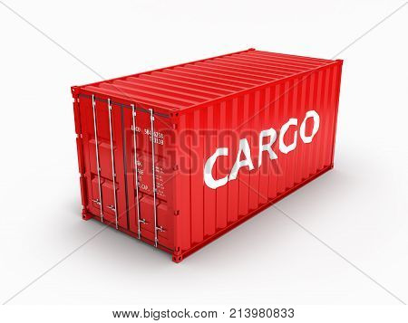 Cargo Shipping Container With An Inscription Cargo On White Background 3D