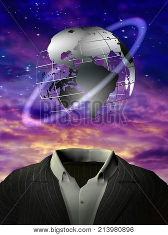 3D rendering. Surrealism. Globe with orbital ring is over man's suit. Purple clouds.