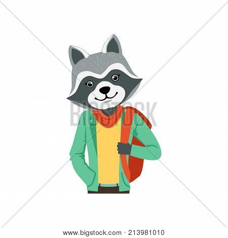 Cute fashion racoon guy character with backpack, hipster animal flat vector illustration isolated on a white background