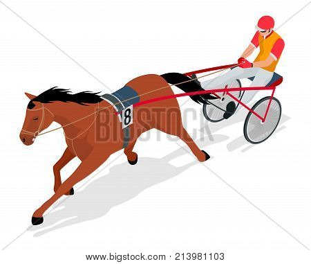 Isometric Jockey and horse. Racing horse competing. Race in harness with a sulky or racing bike. Vector illustration Equestrian sport