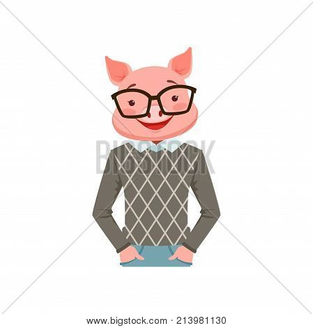Cute fashion pig guy character, hipster animal flat vector illustration isolated on a white background