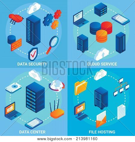 Data center concept vector isometric poster set with cloud services, data security and file hosting design elements.