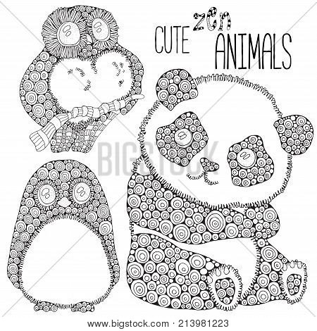 Set of Cute animals: panda penguin owl. Adult antistress coloring book page. Black and white. Zentangle style. Hand drawn doodle zentangle design elements. - stock vector