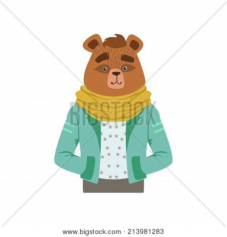 Cute fashion bear guy character, hipster animal flat vector illustration isolated on a white background
