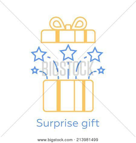 Opened gift box and fireworks surprising present unusual experience special celebration vector line icon. Vector line icons of christmas gift box with a firework isolated on white background.