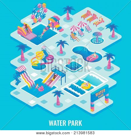 Vector flat isometric illustration of water park with different types of slides, swimming pools, ferris wheel, whirlpool bath, fountains, relaxation and children areas. Aqua park attractions concept.
