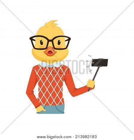 Cute fashion duck chick guy character making selfie with selfie stick, hipster bird flat vector illustration isolated on a white background