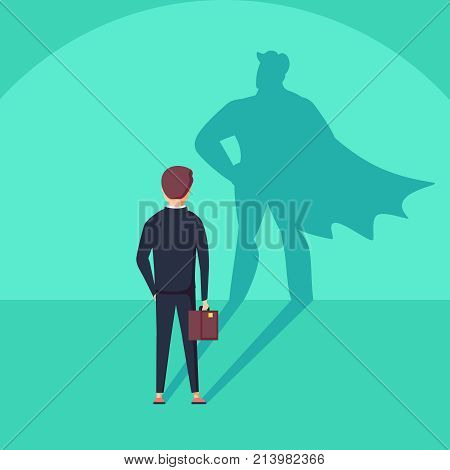 Business ambition and success vector concept. Businessman with superhero shadow as symbol of power, leadership or courage and bravery. Eps10 vector illustration. poster
