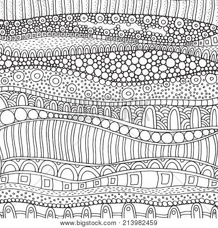 Artistically ethnic pattern. Hand-drawn ethnic floral retro doodle vector zentangle tribal design element. Pattern for adult coloring book page.