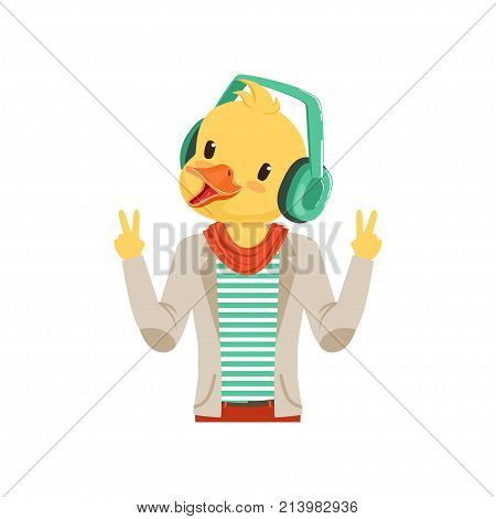 Cute fashion duck chick guy character listening music with headphones, hipster bird flat vector illustration isolated on a white background