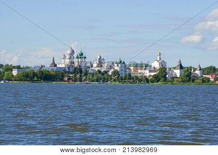 View of the historical center of Rostov the Great from Nero lake on a sunny July day